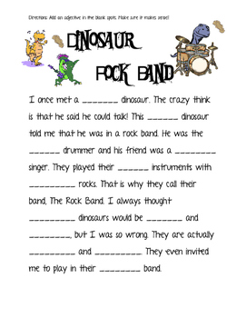 dinosaur adjectives only mad lib by miss b 39 s world tpt. Black Bedroom Furniture Sets. Home Design Ideas