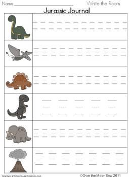 Dinosaur Adventure Write/Stamp the Room Spelling Vocabulary Game