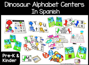 Dinosaur Alphabet Centers in Spanish