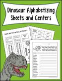 Dinosaur Alphabetizing Sheets and Centers