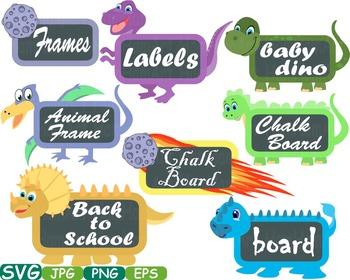 Dinosaur Animal Chalk board Frames clip art wood zoo schoo