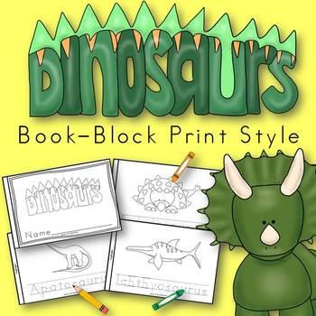 Dinosaur Animals Book for Kindergarten and 1st Grade {Block Print Style}