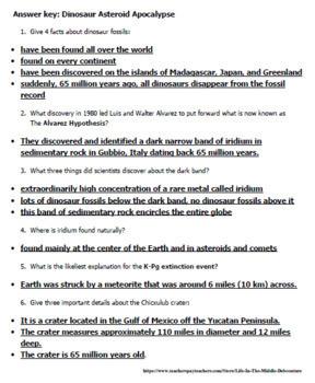Dinosaur Apocalypse Informational text and Questions Alvarez Theory Chicxulub