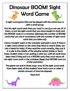 Dinosaur BOOM! Sight Word Game