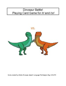 Dinosaur Battle! Playing Card Game for /r/ and /ɔr/
