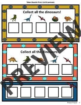 Dinosaur Autism Behavior Visuals: Schedules, Token Boards, Behavior Chart & More