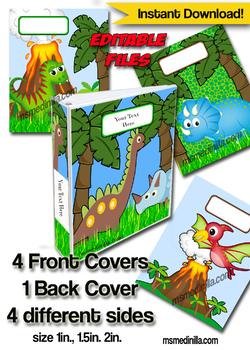 Dinosaur Binder Cover Editable Teacher Binders, Sub Folder, Student Portfolio