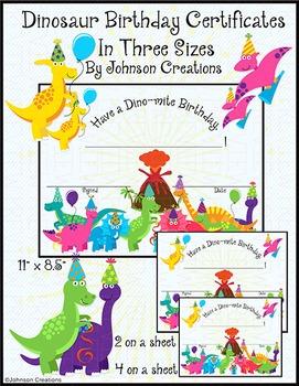 Dinosaur Birthday Certificates In Three Sizes