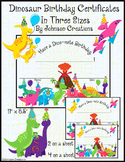 Dinosaur Birthday Certificates In Three Sizes
