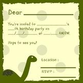 Dinosaur Birthday Invitation Cards