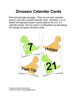 Dinosaur Calendar Cards with an AB Pattern