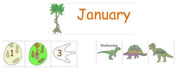 Dinosaur Calendar Cards for Pocket Charts and Wall Calendars