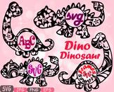 Dinosaur Circle Frames Dinos Floral pack Flower clipart svg Monogram dino -467S