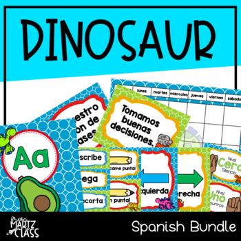 Dinosaur Classroom Decor Bundle (SPANISH)