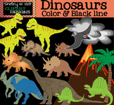 Dinosaur Clip Art - B/W and Color