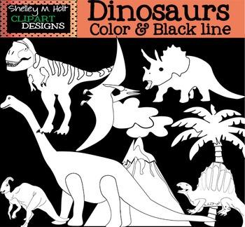 Dinosaur Clip Art - B/W and Color