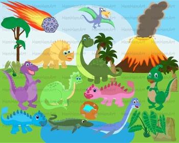 Dinosaur Clip Art prehistoric volcano invitations party fo