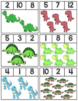 Dinosaur Clip Cards | Numbers 1-12