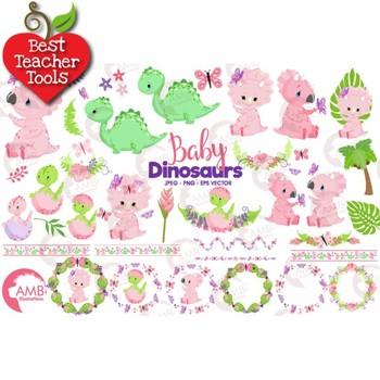 Baby Girl Dinosaur Clipart, Baby Dinosaur Clipart, Dino Clipart, AMB-2421