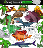 Dinosaur Clipart BUNDLE {Dino clipart by Clipartino}