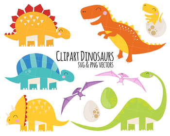 Dinosaur Clipart, t-rex clipart, stegosaurus clipart, triceratops clipart