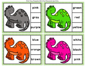 Dinosaur Color Match Clip Cards and Memory Game