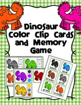 Dinosaur Color Clip Cards and Memory Game