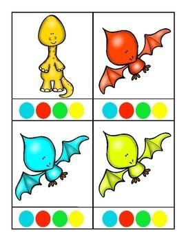 Dinosaur Color Matching Clip Cards for Preschool, Prek, and Kindergarten