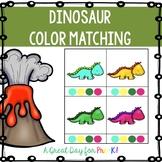 Dinosaur Color Matching Clip Cards for Preschool, Prek, an