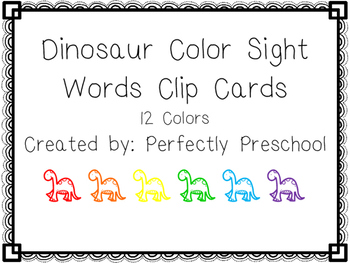 Dinosaur Color Sight Word Clip Cards