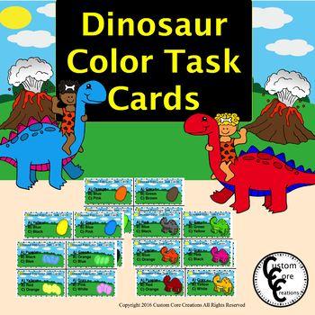 Dinosaur Color Task Cards