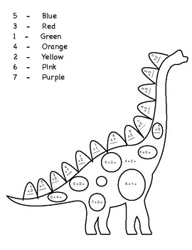 Dinosaur Color by Addition