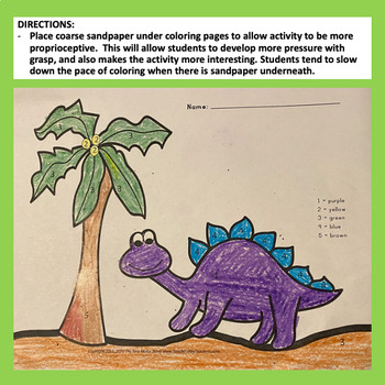 Fine Motor Dinosaur Color by Number Coloring Skills Labs for Center Time