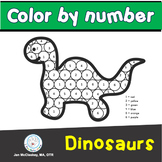 Fine Motor Dinosaur Color by Number Coloring Skills Labs f