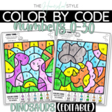 Color by Numbers 1-30 Editable Dinosaur Theme