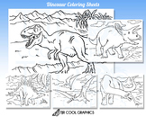 Dinosaur Coloring Sheets Kids Digital Realistic, JPG, Printable, Fun Crafts