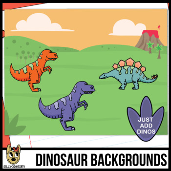 Dinosaur Colors, Shapes, and Backgrounds Clipart Bundle