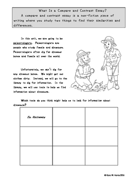 Dinosaur Compare and Contrast Essay Writing Animal and General Topic Variation