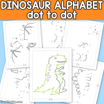 Dinosaur Connect the Dots - Dot to Dot Alphabet Worksheets