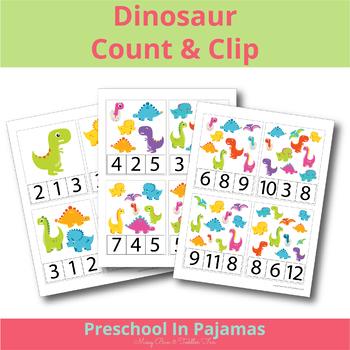Dinosaur Count & Clip Card Set 1-12