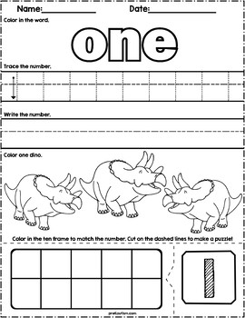 Dinosaur Count & Write Math Worksheets