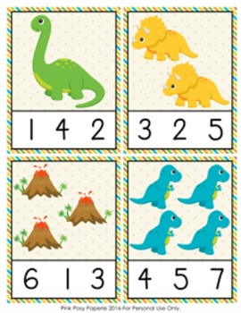 Dinosaur Count and Clip Cards Numbers 1-12