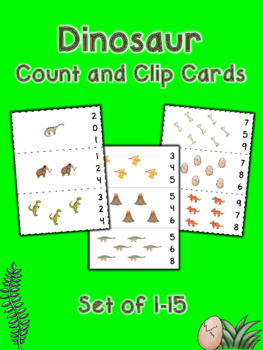 Dinosaur Count and Clip Cards - Set of 15