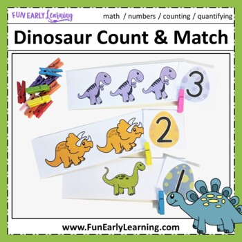Dinosaur Count and Match Math Activity