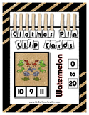 Dinosaur Counting 0 to 20 Clip Clothes Pin Cards Math Center Desk Work
