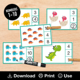 Dinosaur Counting Cards (Numbers 1-10), Preschool or Toddler Busy Book Printable