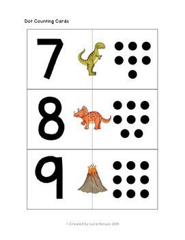 Dinosaur Counting Cards - Set of 10
