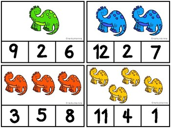 Dinosaur Counting Clip Cards