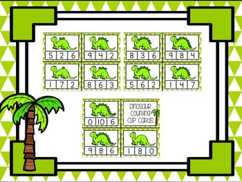 Dinosaur Counting Clip Cards - Numbers 1 - 10