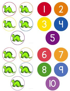 Dinosaur Counting File Folder Game for Special Education